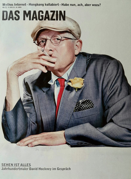 Cover of Swiss 'Magazin' containing Rohwer's biographical conversation with British artist David Hockney (Pg. 30-39, Tamedia AG, Zurich 2005)