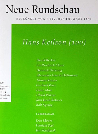 Anthology containing Rohwer's biographical conversation with German-Dutch writer and psycho-analyst Hans Keilson (Pg. 9-40, Neue Rundschau, S.Fischer Verlag, Frankfurt am Main 2009)